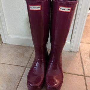 Hunter Boots Tall Wide Calf Sz 7 Magenta